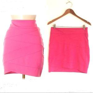 Silence Noise Pink Bodycon Asymetrical Mini Skirt